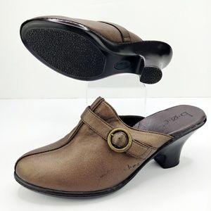 b.o.c. Bronze Leather Heeled Mules w/Buckle